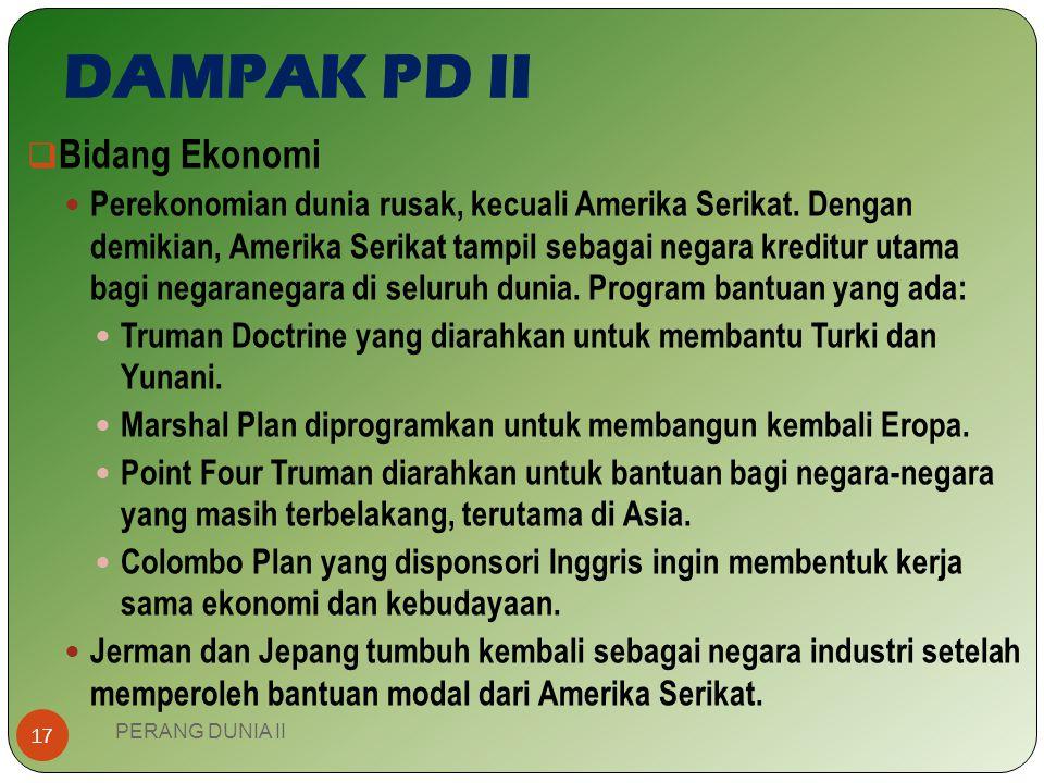 DAMPAK PD II Bidang Ekonomi