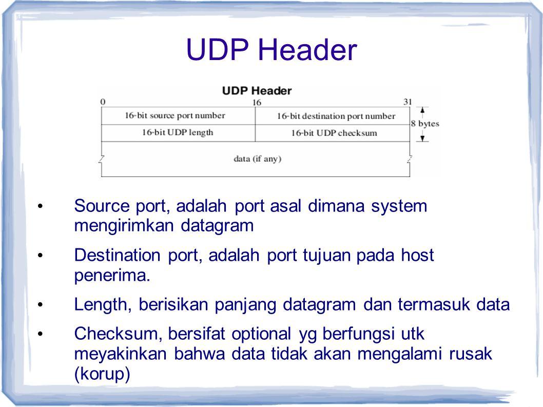 UDP Header Source port, adalah port asal dimana system mengirimkan datagram. Destination port, adalah port tujuan pada host penerima.