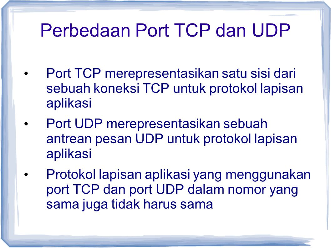 Perbedaan Port TCP dan UDP
