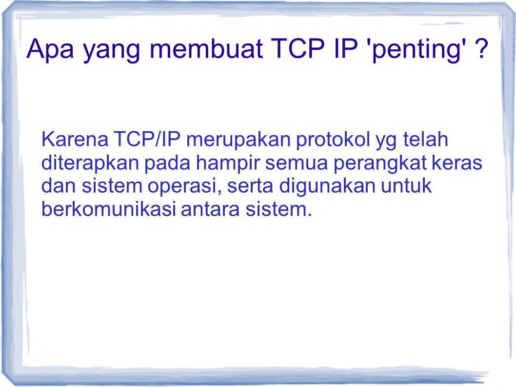 Apa yang membuat TCP IP penting