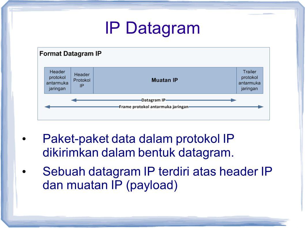 IP Datagram Paket-paket data dalam protokol IP dikirimkan dalam bentuk datagram.
