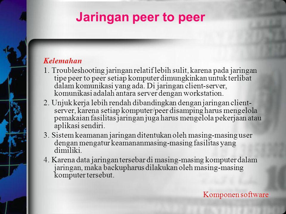 Jaringan peer to peer Kelemahan