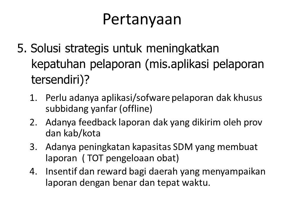 Pertanyaan 5. Solusi strategis untuk meningkatkan kepatuhan pelaporan (mis.aplikasi pelaporan tersendiri)