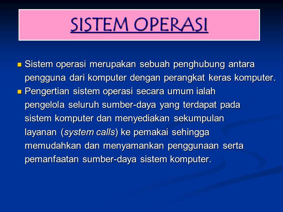 SISTEM OPERASI Sistem operasi merupakan sebuah penghubung antara