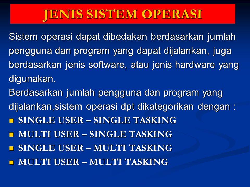 JENIS SISTEM OPERASI Sistem operasi dapat dibedakan berdasarkan jumlah
