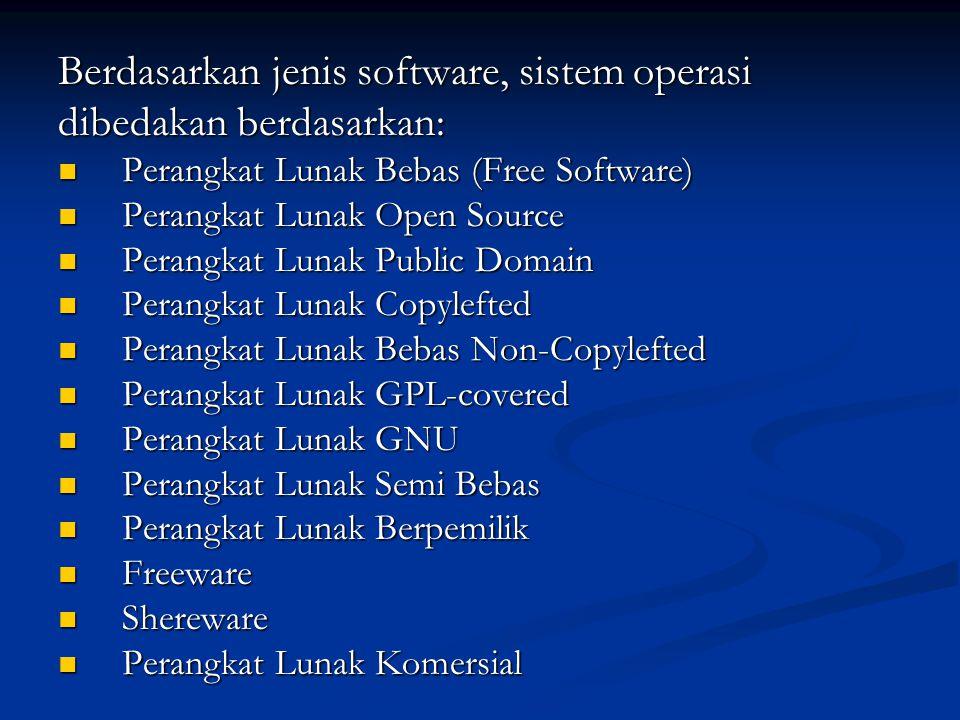 Berdasarkan jenis software, sistem operasi dibedakan berdasarkan: