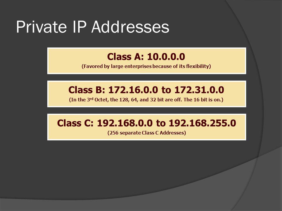 Private IP Addresses Class A: 10.0.0.0