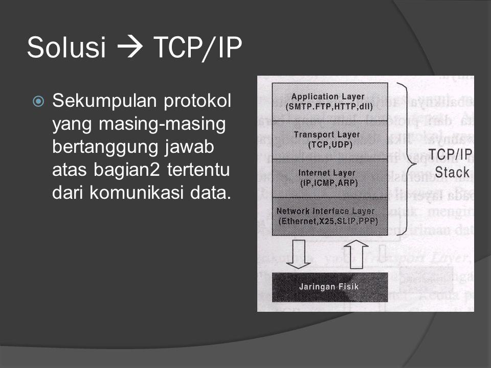 Solusi  TCP/IP Sekumpulan protokol yang masing-masing bertanggung jawab atas bagian2 tertentu dari komunikasi data.