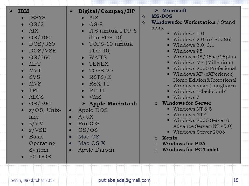Lanjutan.... IBM IBSYS OS/2 AIX OS/400 DOS/360 DOS/VSE OS/360 MFT MVT