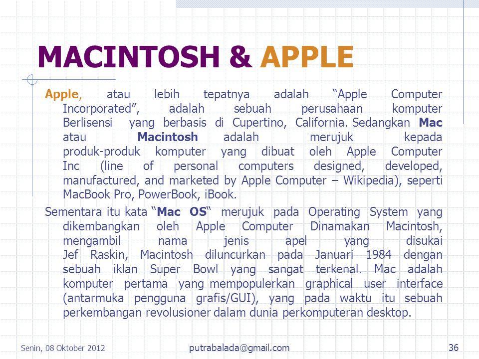 MACINTOSH & APPLE
