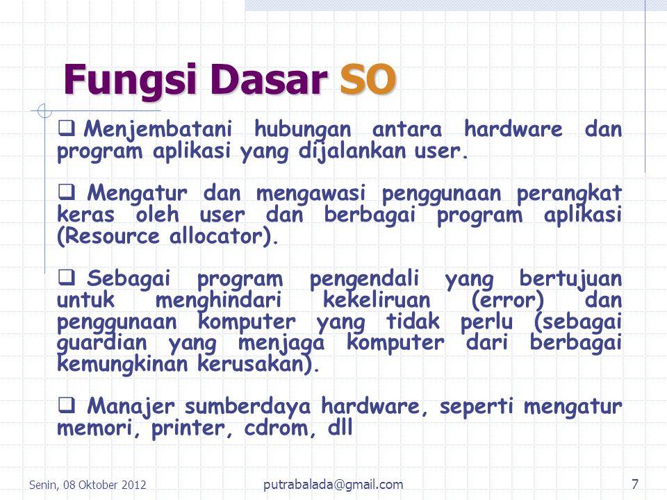 Fungsi Dasar SO Menjembatani hubungan antara hardware dan program aplikasi yang dijalankan user.
