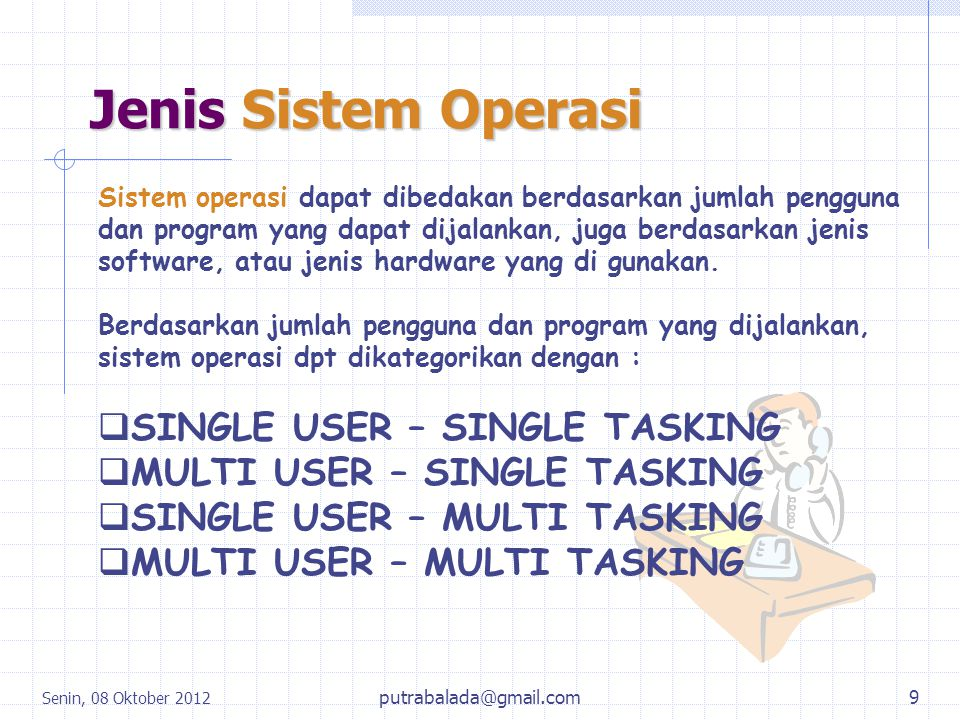 Jenis Sistem Operasi SINGLE USER – SINGLE TASKING