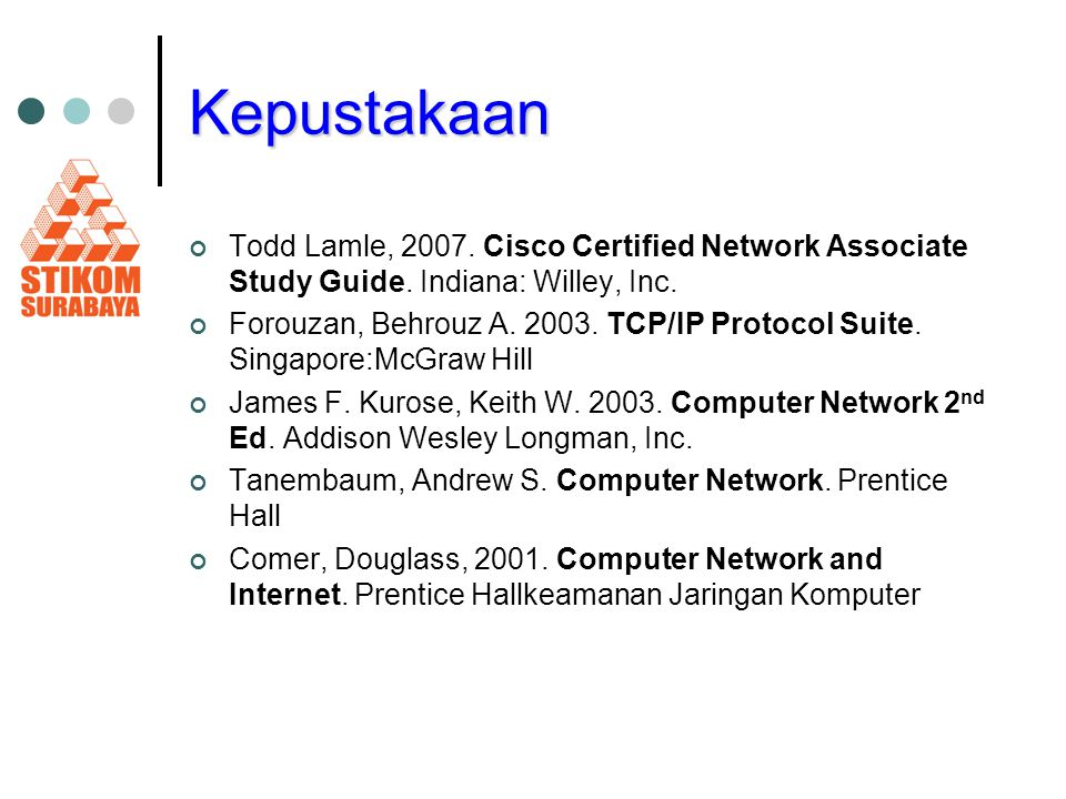 Kepustakaan Todd Lamle, Cisco Certified Network Associate Study Guide. Indiana: Willey, Inc.