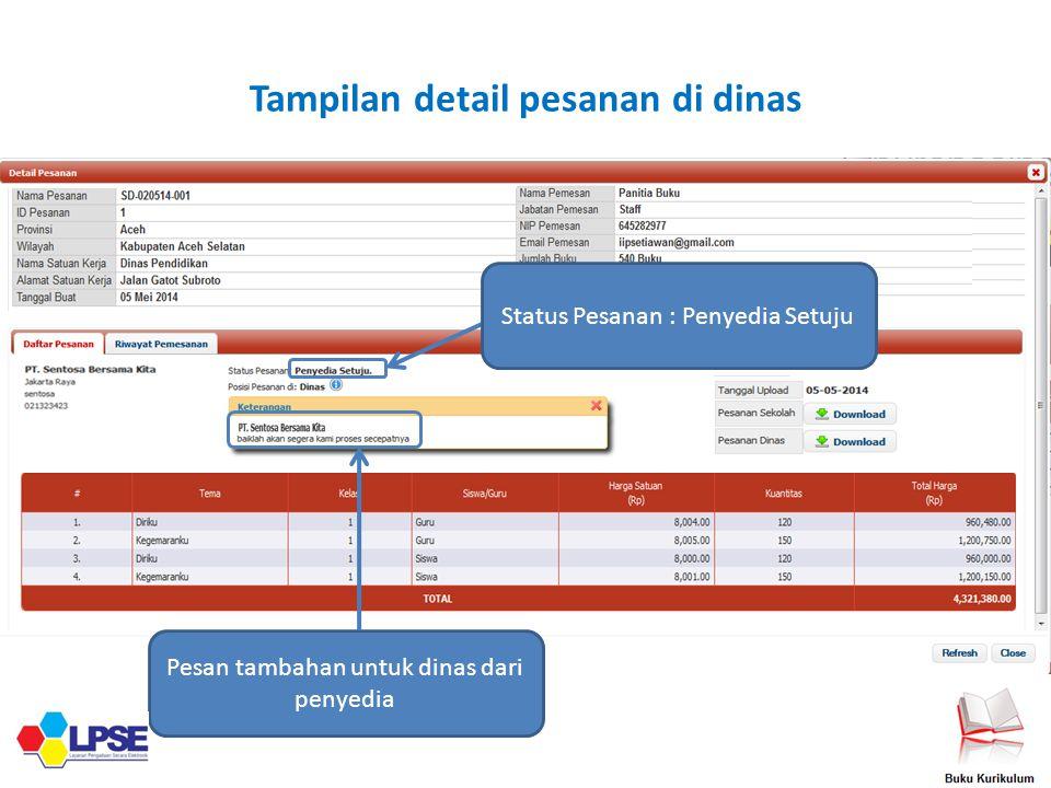 Tampilan detail pesanan di dinas
