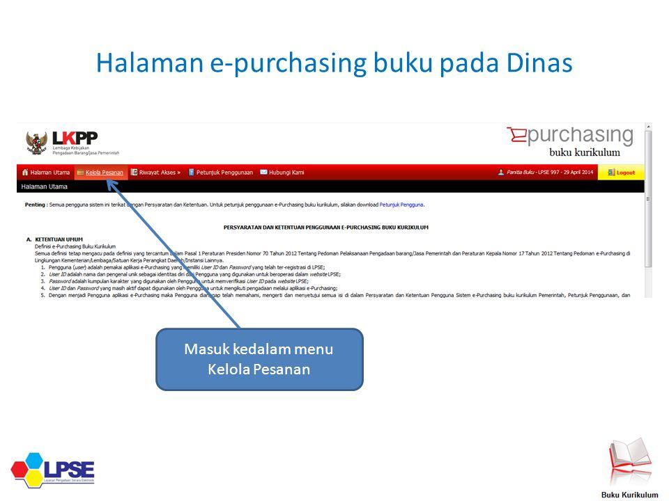 Halaman e-purchasing buku pada Dinas