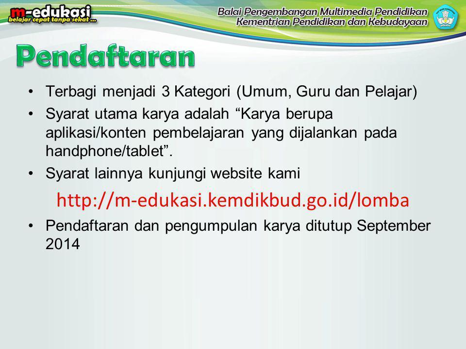 Pendaftaran http://m-edukasi.kemdikbud.go.id/lomba