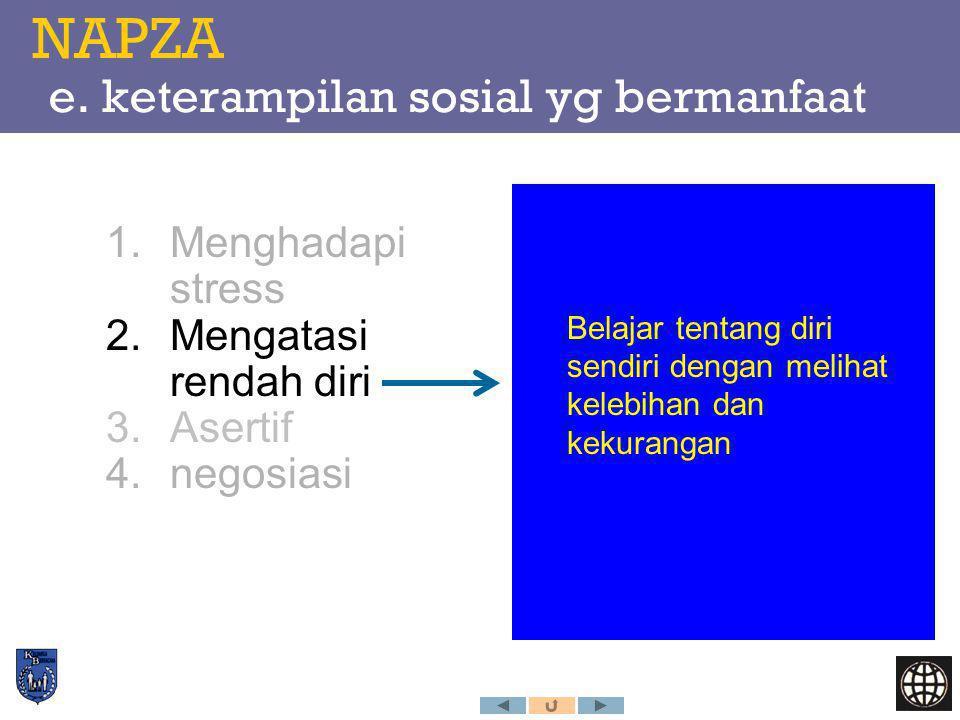 NAPZA e. keterampilan sosial yg bermanfaat