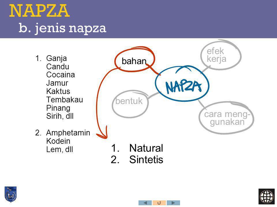NAPZA b. jenis napza Natural Sintetis efek kerja bahan bentuk