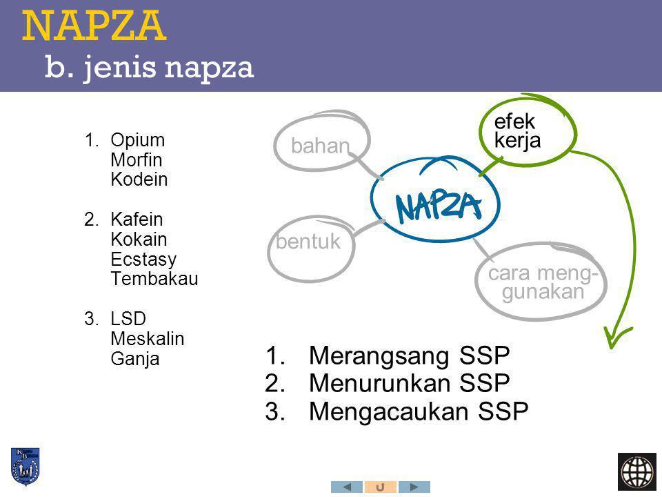 NAPZA b. jenis napza Merangsang SSP Menurunkan SSP Mengacaukan SSP