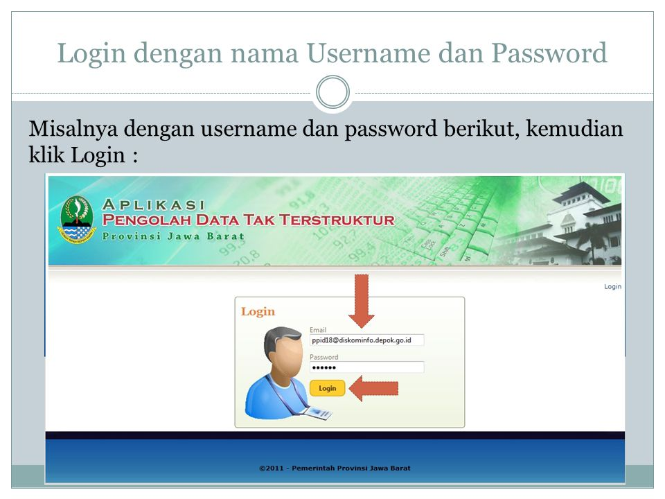 Login dengan nama Username dan Password