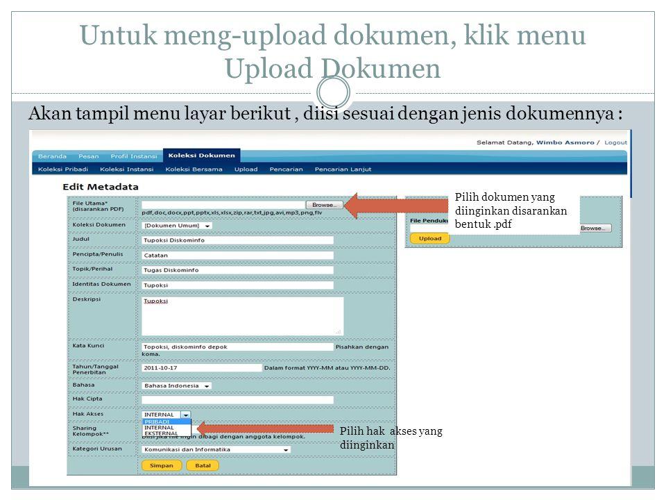Untuk meng-upload dokumen, klik menu Upload Dokumen