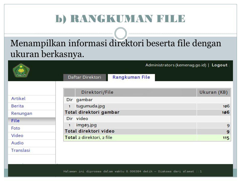 b) RANGKUMAN FILE Menampilkan informasi direktori beserta file dengan ukuran berkasnya.