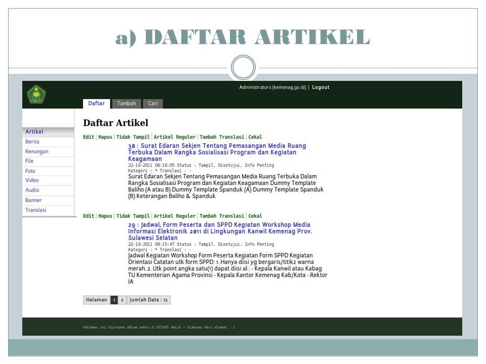 a) DAFTAR ARTIKEL