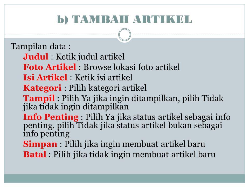 b) TAMBAH ARTIKEL