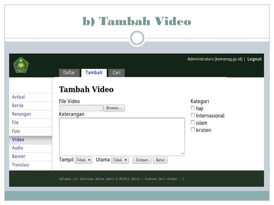 b) Tambah Video