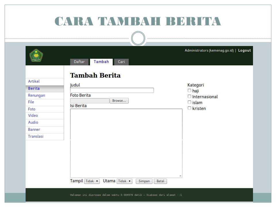 CARA TAMBAH BERITA