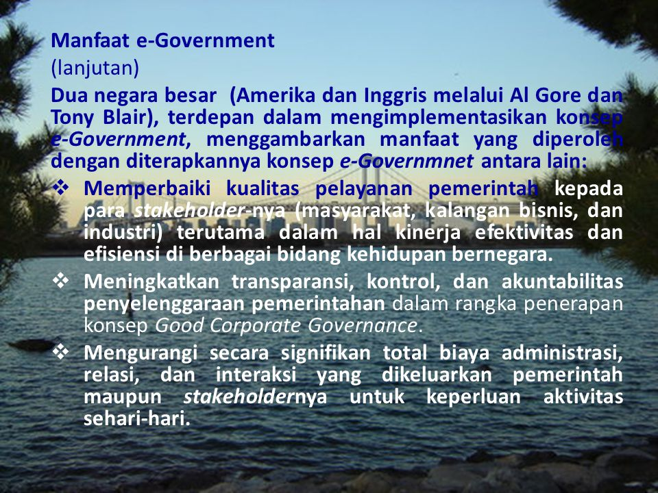 Manfaat e-Government (lanjutan)