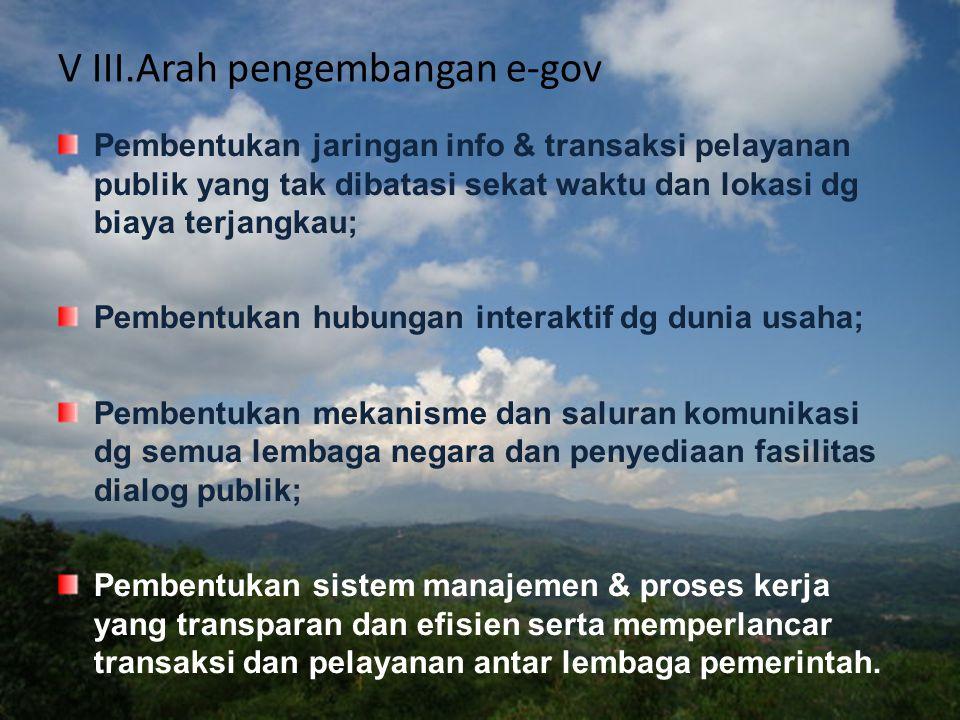V III.Arah pengembangan e-gov