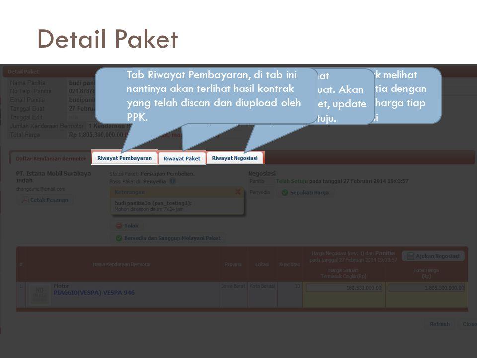 Detail Paket Di halaman detail paket juga ada beberapa tab lain: