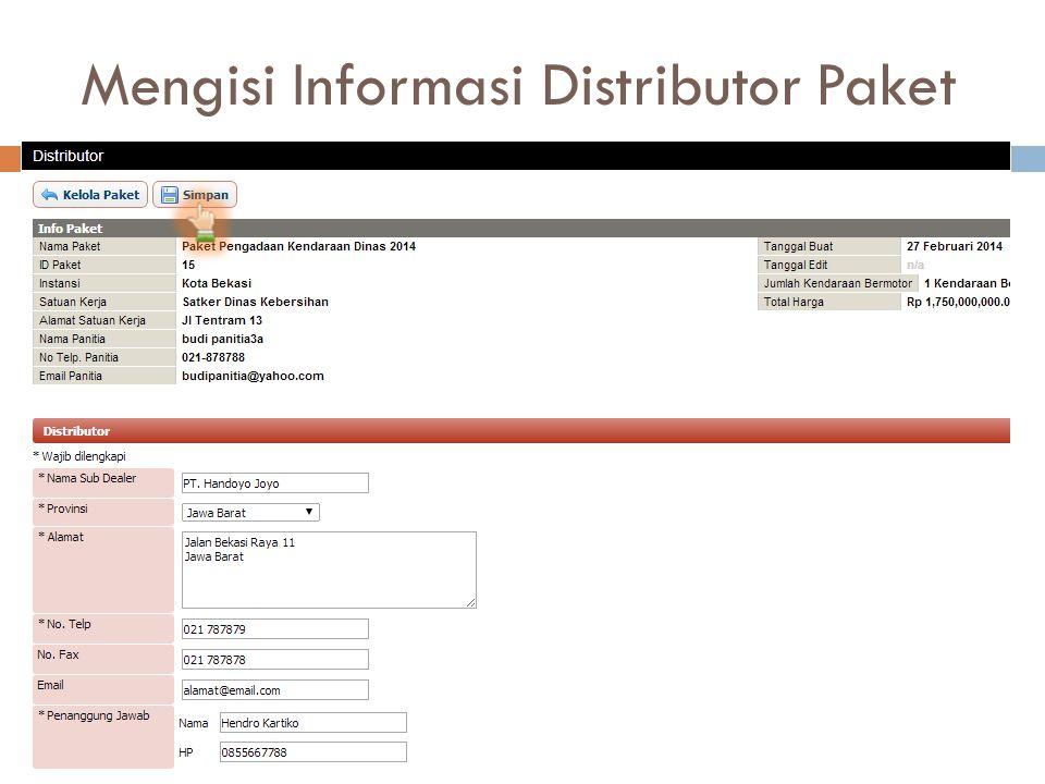 Mengisi Informasi Distributor Paket
