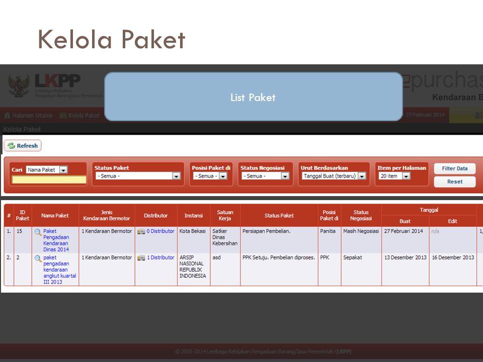 Kelola Paket List Paket Tombol Perintah Fungsi Filtering