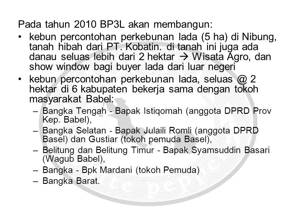 Pada tahun 2010 BP3L akan membangun: