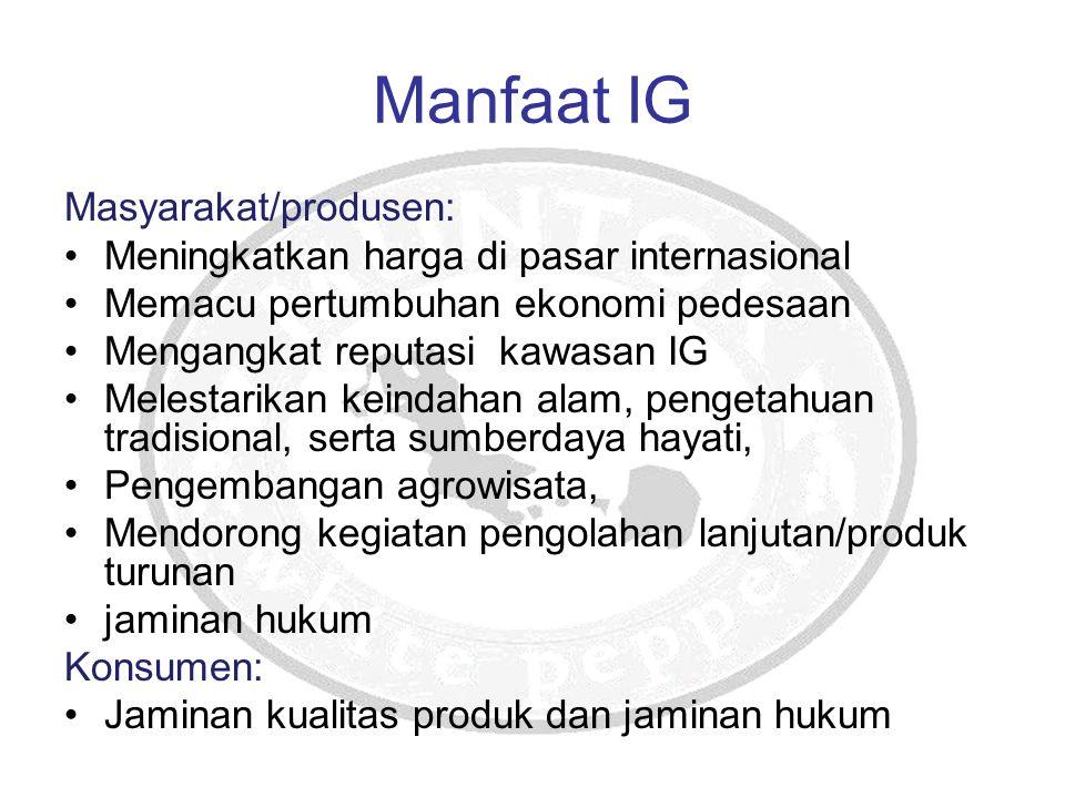 Manfaat IG Masyarakat/produsen: