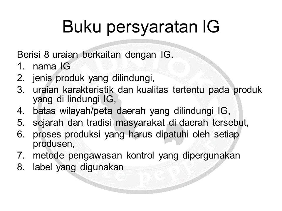 Buku persyaratan IG Berisi 8 uraian berkaitan dengan IG. nama IG