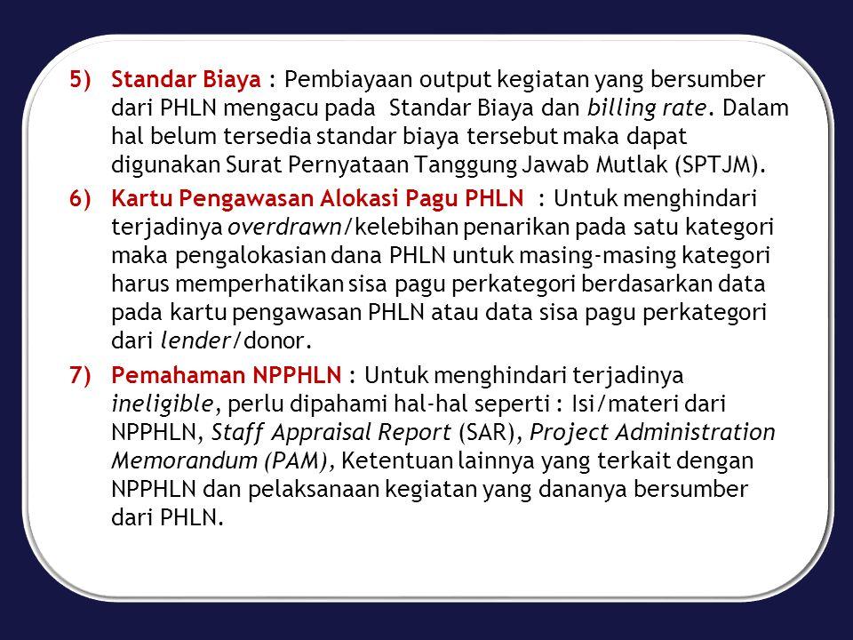 Standar Biaya : Pembiayaan output kegiatan yang bersumber dari PHLN mengacu pada Standar Biaya dan billing rate. Dalam hal belum tersedia standar biaya tersebut maka dapat digunakan Surat Pernyataan Tanggung Jawab Mutlak (SPTJM).