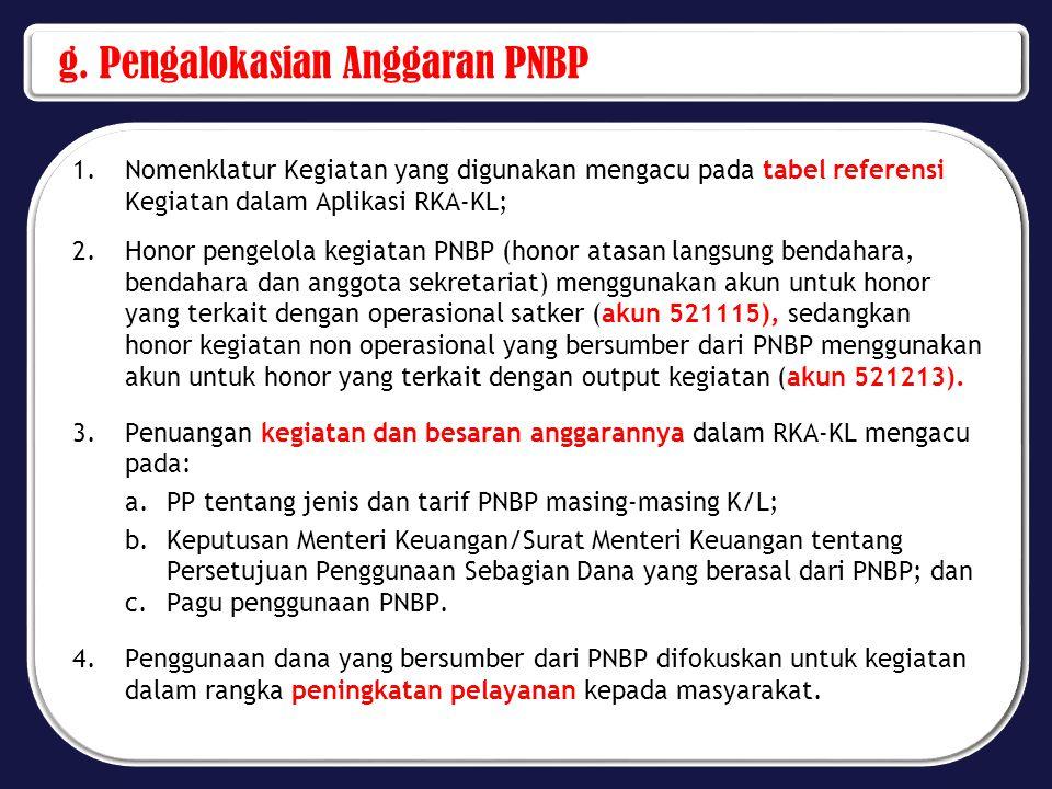g. Pengalokasian Anggaran PNBP