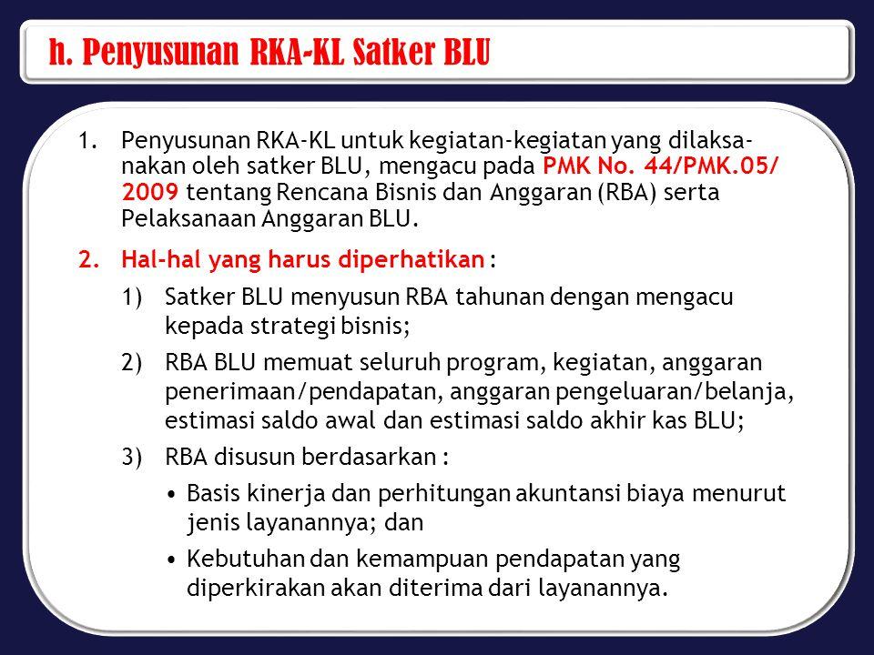 h. Penyusunan RKA-KL Satker BLU