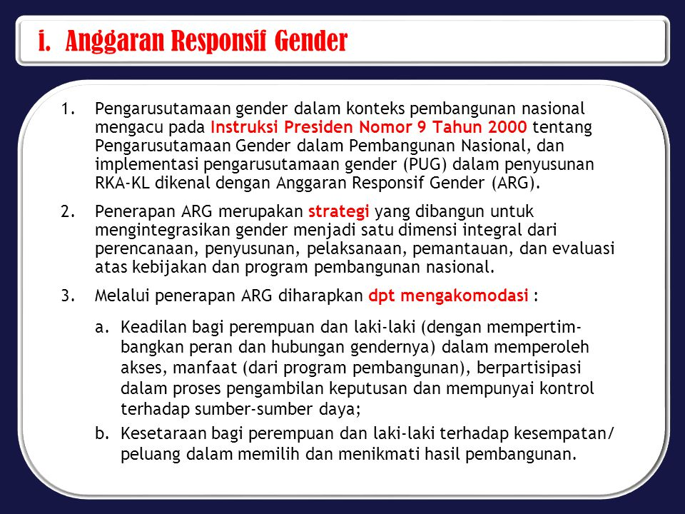 i. Anggaran Responsif Gender