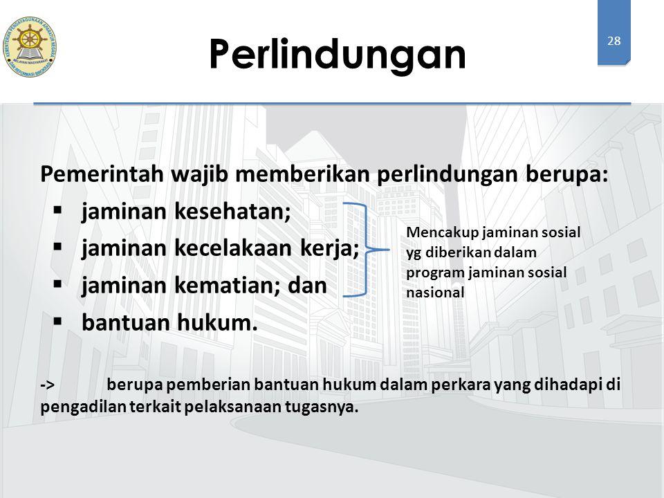 Perlindungan Pemerintah wajib memberikan perlindungan berupa:
