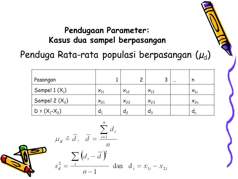Pendugaan Parameter: Kasus dua sampel berpasangan
