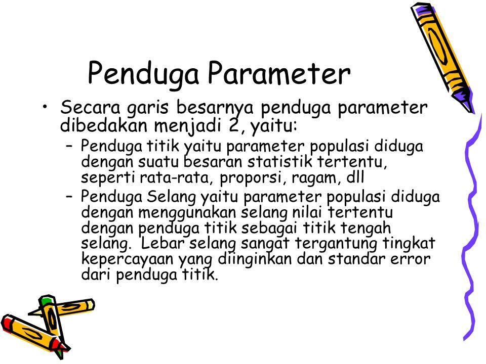 Penduga Parameter Secara garis besarnya penduga parameter dibedakan menjadi 2, yaitu: