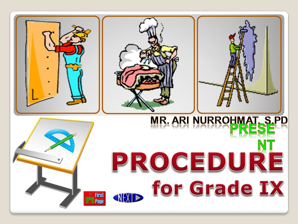 Mr. Ari Nurrohmat, S.Pd Present PROCEDURE for Grade IX
