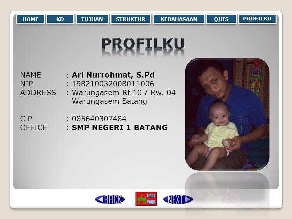 PROFILKU NAME : Ari Nurrohmat, S.Pd NIP : 198210032008011006