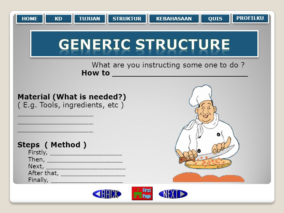 Generic Structure What are you instructing some one to do