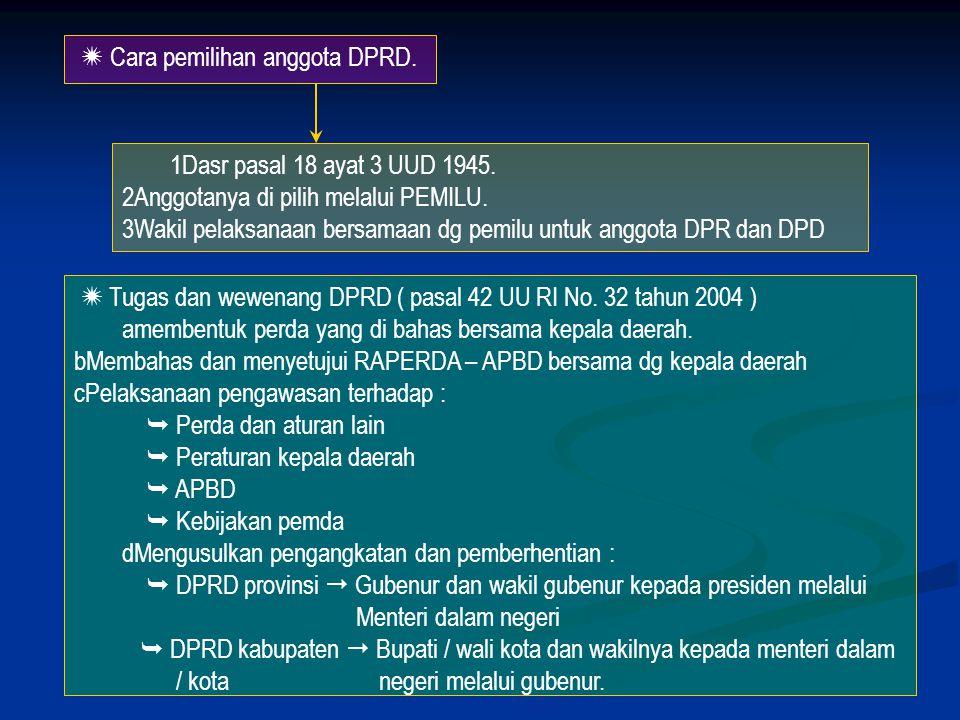  Cara pemilihan anggota DPRD.