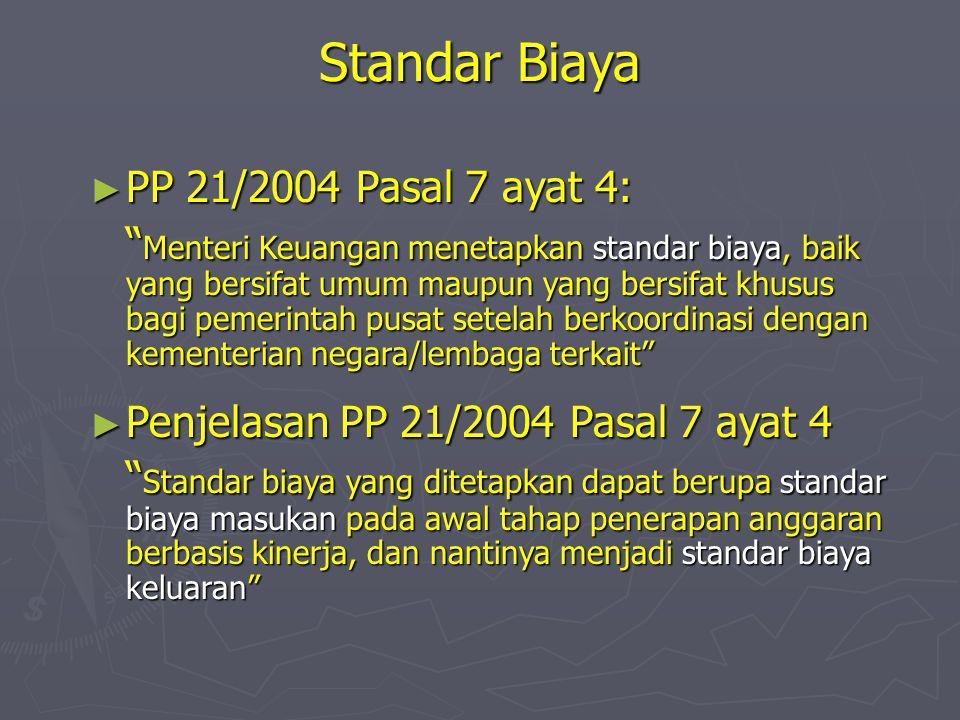 Standar Biaya PP 21/2004 Pasal 7 ayat 4: